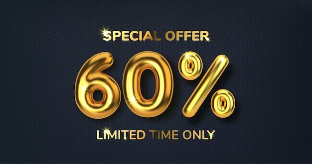 60 desconto em promoção de venda feita de balões de ouro 3d realistas número na forma de balões de ouro