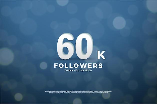 60 mil seguidores com números brancos em azul marinho.