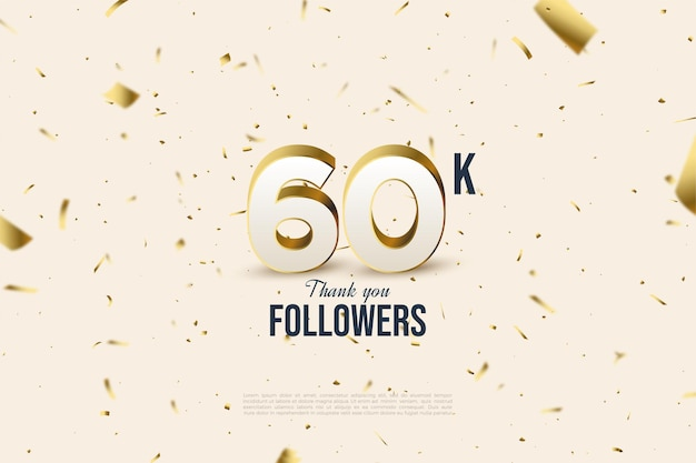 60 mil seguidores com números e ilustrações em folha de ouro espalhados