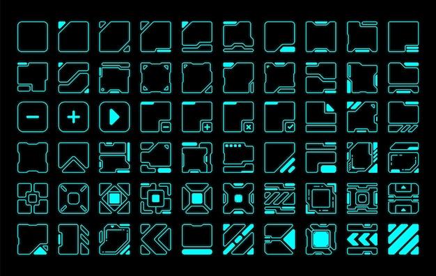 60 moldura quadrada arredondada hud futuro design moderno do vetor