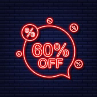 60 por cento de desconto em banner de venda. ícone de néon. desconto na etiqueta de preço da oferta. ilustração vetorial.