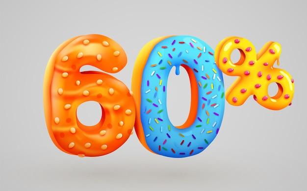 60 por cento de desconto na composição de sobremesas 3d símbolo de mega venda com números de donuts doces voando