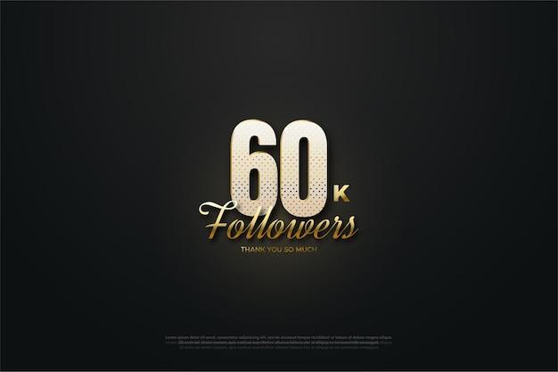 60k seguidores com figura tridimensional iluminada.