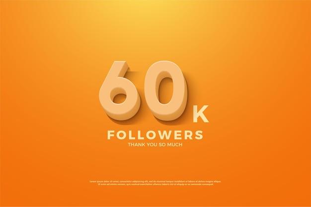60k seguidores com fonte numérica de desenho animado.