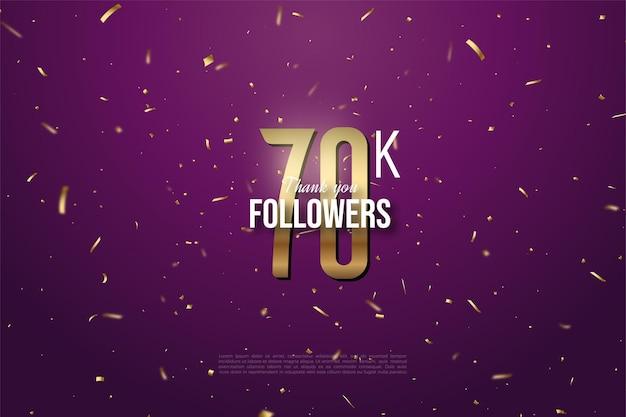 60k seguidores com ilustração de números dourados e pontos em fundo roxo.