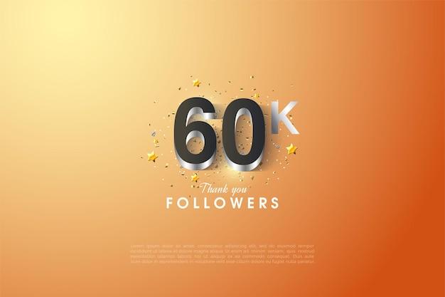 60k seguidores com ilustrações de letras e números folheados a prata brilhante.