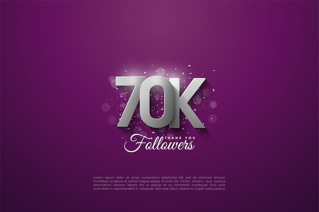 60k seguidores com números de prata tridimensionais que se sobrepõem em um fundo roxo.