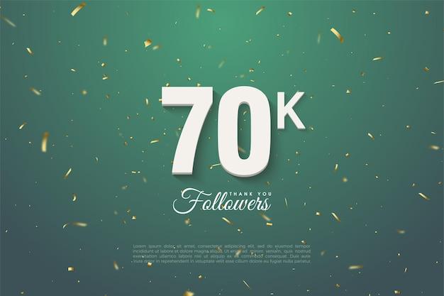 60k seguidores com números dourados e pontos em fundo verde escuro.