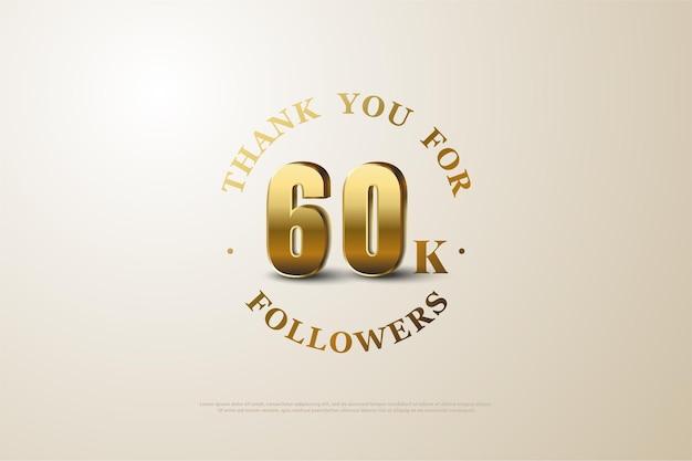 60k seguidores com números dourados tridimensionais sombreados.