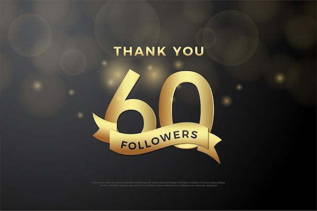 60k seguidores com números e fitas douradas lado a lado.