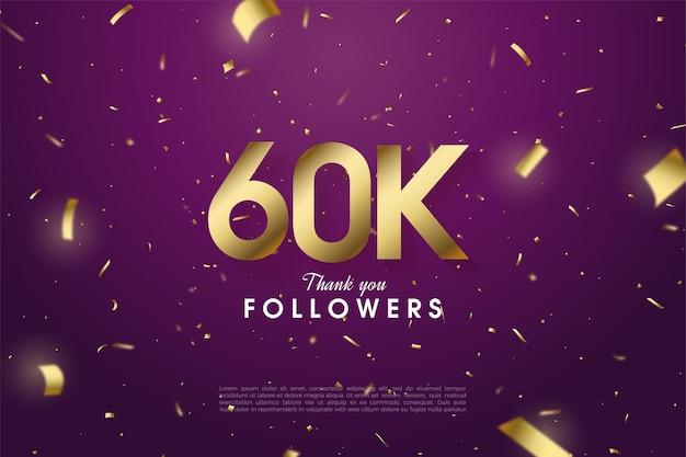 60k seguidores com números espalhados e ilustração de folha de ouro em fundo roxo.