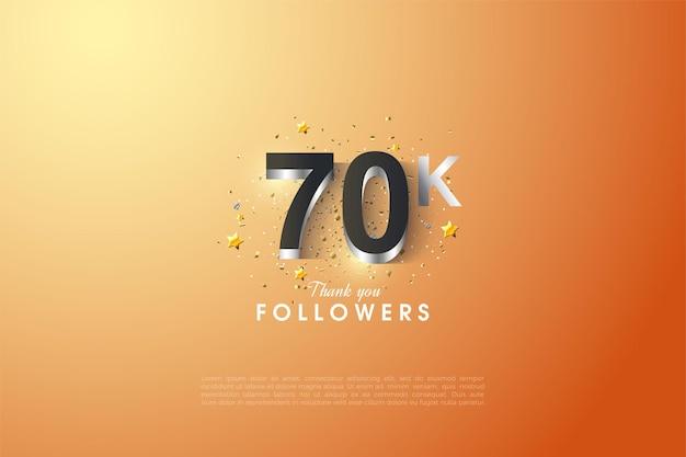 60k seguidores com um número 3d em relevo em prata brilhante.