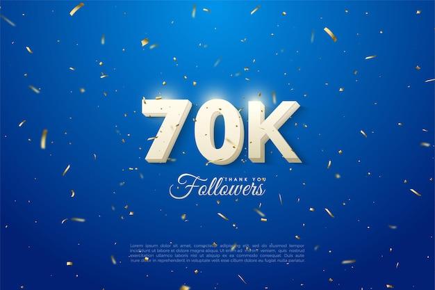 60k seguidores com um número 3d em um fundo azul com manchas douradas.