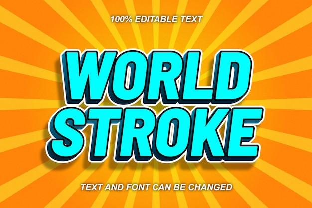 63. estilo cômico do efeito de texto editável world stroke