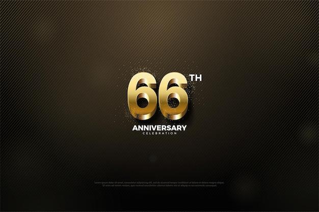 66º aniversário com algarismos dourados brilhantes