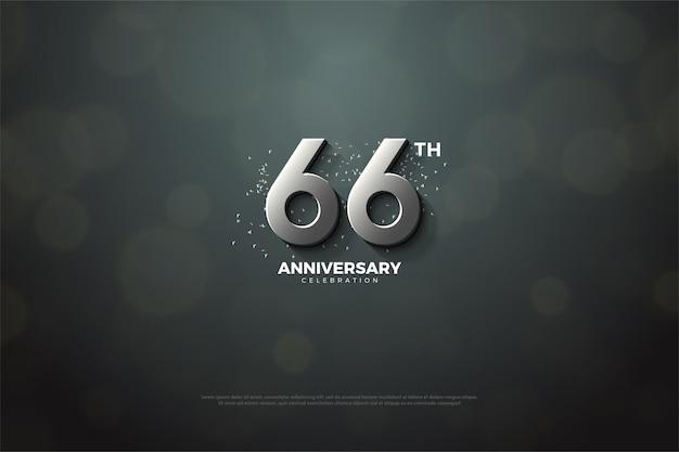 66º aniversário com algarismos prateados em fundo preto