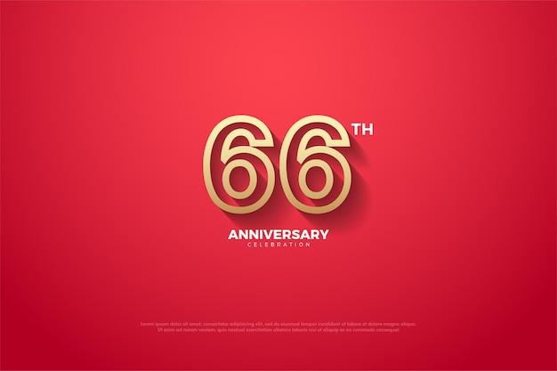 66º aniversário com numerais com bordas marrons
