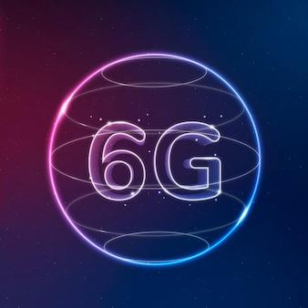 6g de néon de tecnologia de conexão global no ícone digital do globo