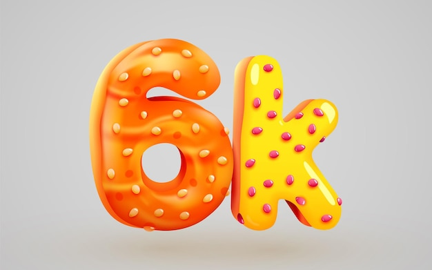 6k ou 6000 seguidores donut sobremesa assinar amigos de mídia social obrigado seguidores