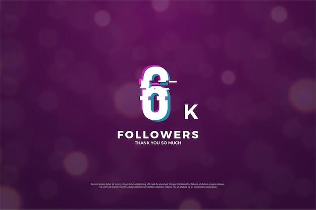 6k seguidores com fatia de números em efeito de paz