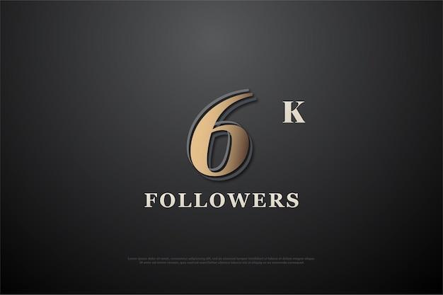 6k seguidores com número de design plano