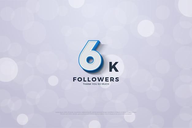 6k seguidores com números 3d com acabamento em azul escuro