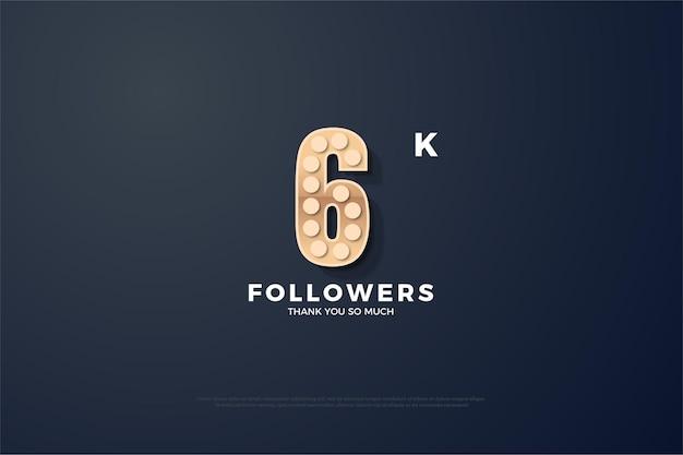 6k seguidores com números texturizados