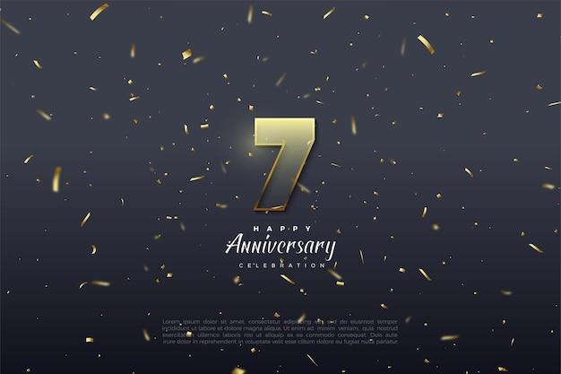 7º aniversário com ilustração de figuras transparentes e borda marrom dourada.