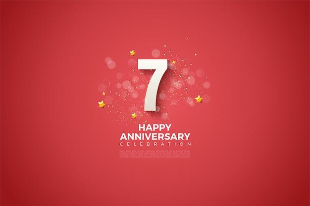 7º aniversário com números ligeiramente sombreados e efeitos bokeh embelezados.