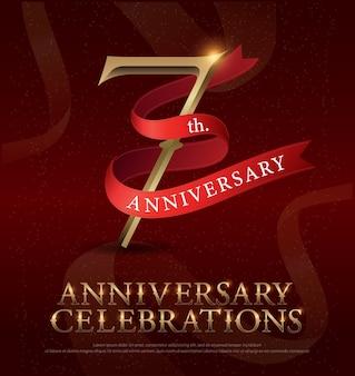 7º aniversário de aniversário comemoração logotipo dourado
