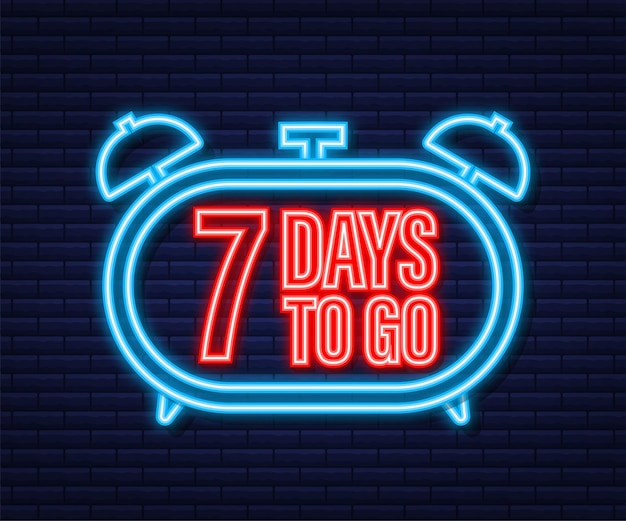 7 dias para ir. ícone de estilo neon. design tipográfico do vetor. ilustração em vetor das ações.
