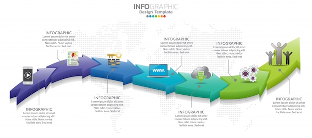 7 peças infográfico design e marketing ícones podem ser usados para layout de fluxo de trabalho