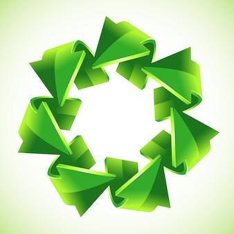 7 setas verdes de reciclagem