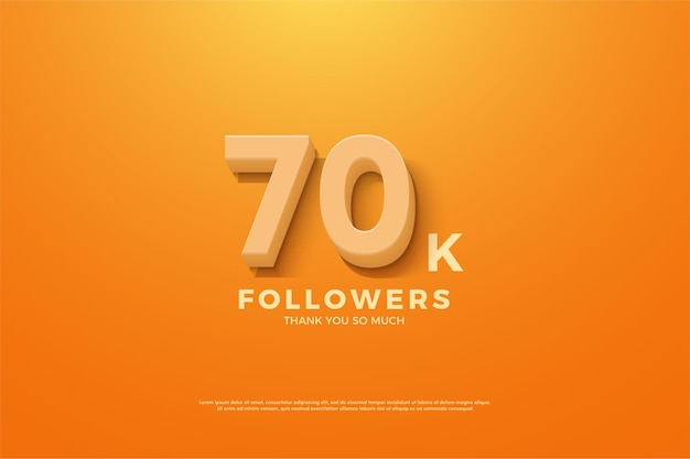 70.000 seguidores com números em relevo e sombreados em um fundo laranja