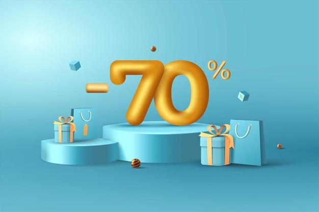 70% de desconto em números de desconto em ouro 3d no pódio com sacola de compras e caixa de presente