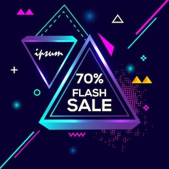 70% de desconto especial flash venda banner geometria criativa