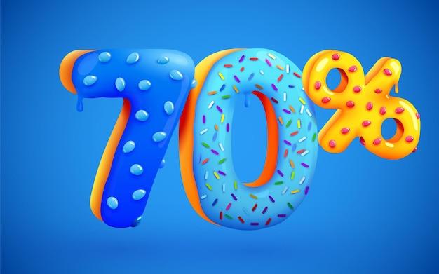 70% de desconto na composição de sobremesas 3d símbolo de mega venda com números de rosquinhas doces voadoras