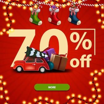 70% de desconto no banner quadrado vermelho de natal com grandes números