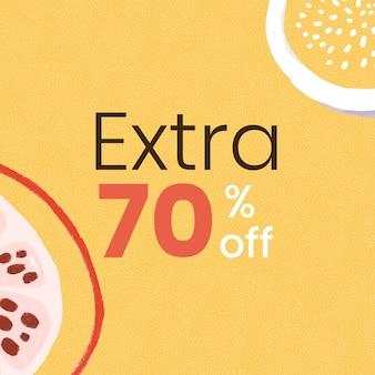 70% extra de desconto no recurso de design de modelo de promoção de verão