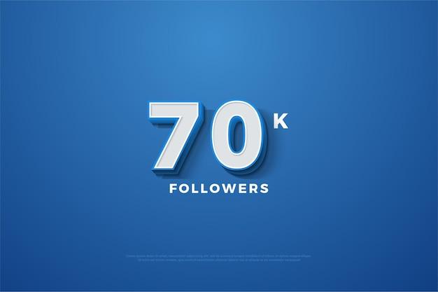 70 mil seguidores com figuras tridimensionais gravadas em um fundo azul marinho Vetor Premium