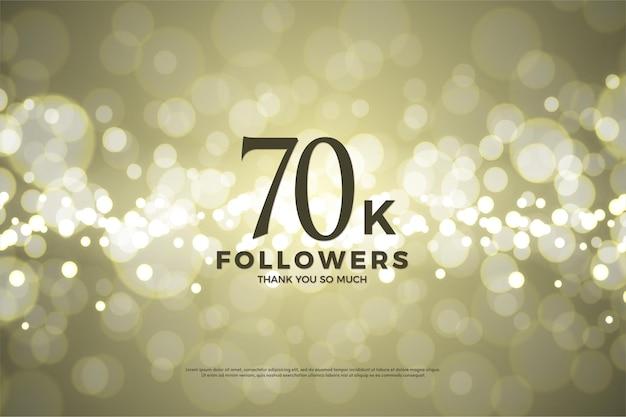 70 mil seguidores com números em fundo de folha de ouro