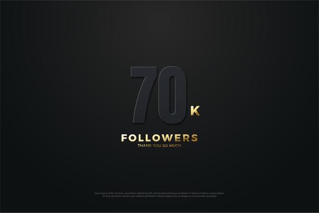 70 mil seguidores com números escuros e escrita iluminada