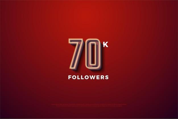70 mil seguidores com números listrados de branco leitoso