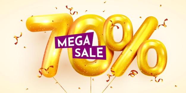70 por cento de desconto na composição criativa da mega venda de balões dourados ou setenta por cento