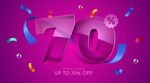 70 por cento de desconto na composição criativa mega símbolo de venda