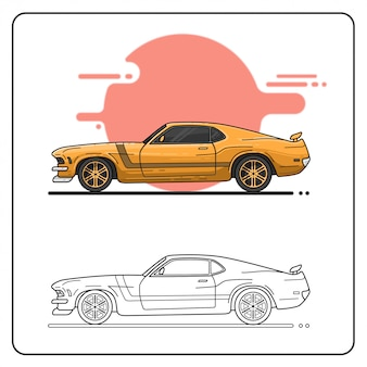 70s cars easy editable