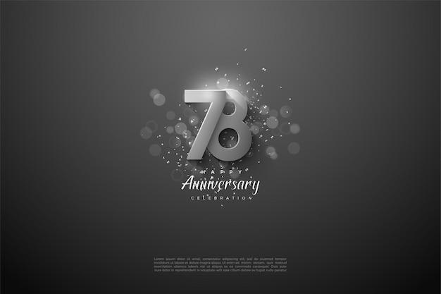 78º aniversário com algarismos prateados em relevo