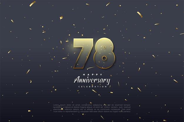 78º aniversário com algarismos transparentes com borda dourada