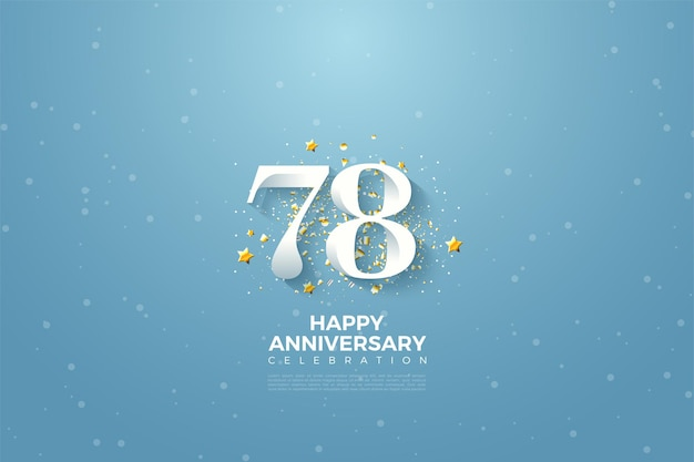 78º aniversário com ilustração de fundo de céu azul