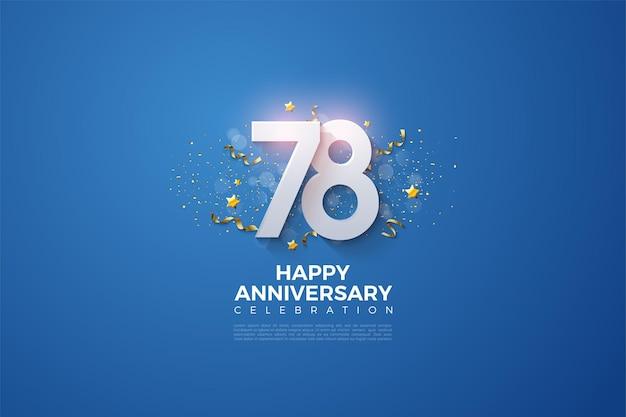 78º aniversário com números empilhados em um fundo azul